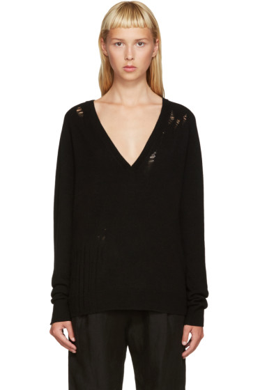 Raquel Allegra - Black Deep V Sweater