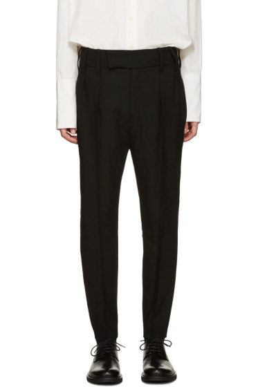 Ann Demeulemeester - Black Pleated Wide-Leg Trousers