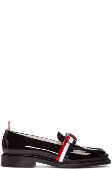 Thom Browne - Black Patent Leather Bow Loafers