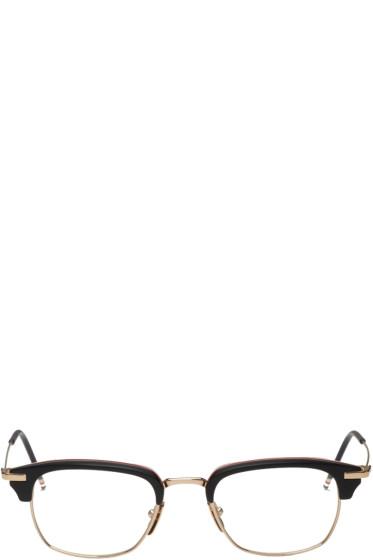 Thom Browne - Black & Gold Horn-Rimmed Glasses