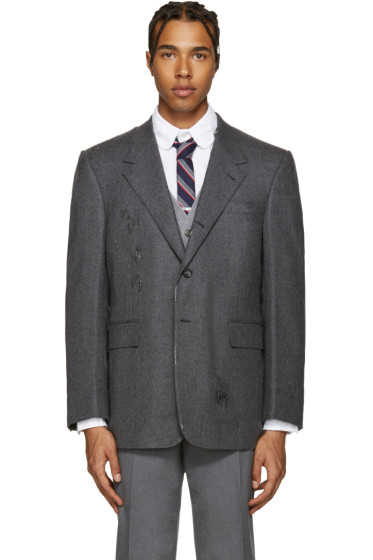 Thom Browne - Grey Wide Shoulder Blazer