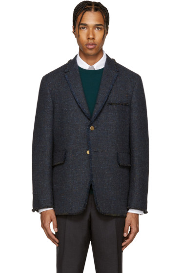 Thom Browne - Navy Tweed Frayed Blazer