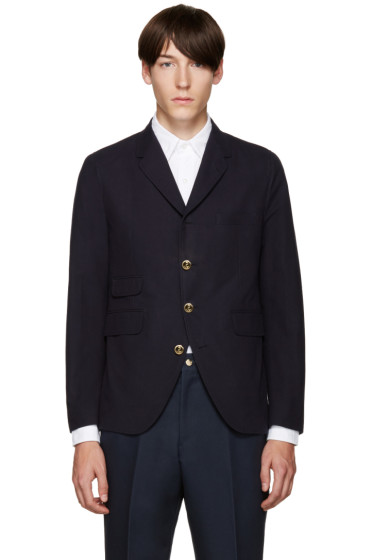 Thom Browne - Navy Cotton 5-Button Blazer