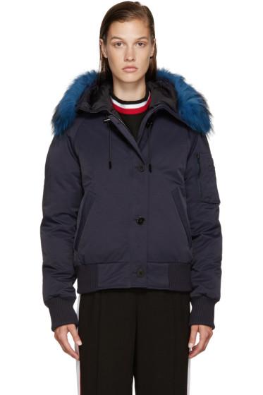 Kenzo - Blue Fur-Trimmed Down Jacket