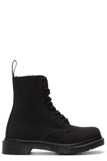 444c8e5eb75b Dr. Martens Black Fur-Lined 1460 Mono Pascal Boots from SSENSE - Styhunt