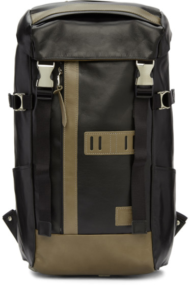 Master-Piece Co - Black Leather Over Backpack