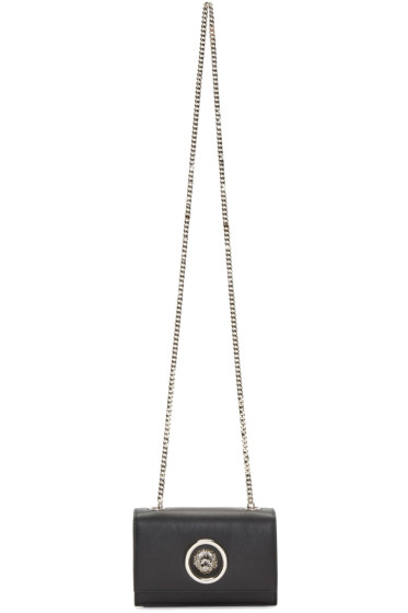 Versus - Black Small Leather Lion Medallion Bag