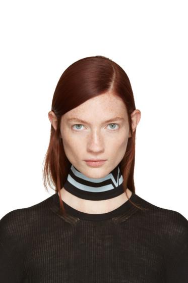 Versace - Black Athletic Stripes Collar
