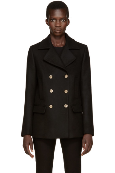Versace - Black Wool Peacoat