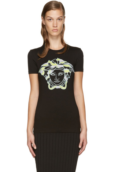 Versace - Black Embroidered Medusa T-Shirt