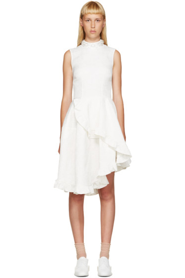 Simone Rocha - Ivory Crystal & Ruffles Dress