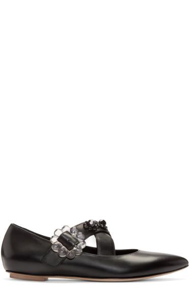Simone Rocha - Black Leather Beaded Flats