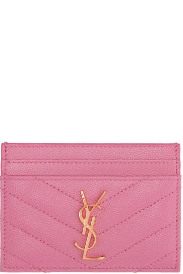Saint Laurent - Pink Monogram Card Holder