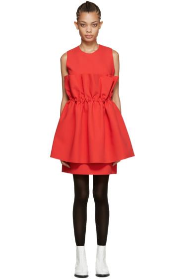 MSGM - Red Waist Ruffle Dress