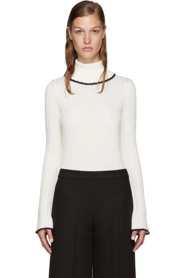 MSGM - Ivory Ruffled Turtleneck