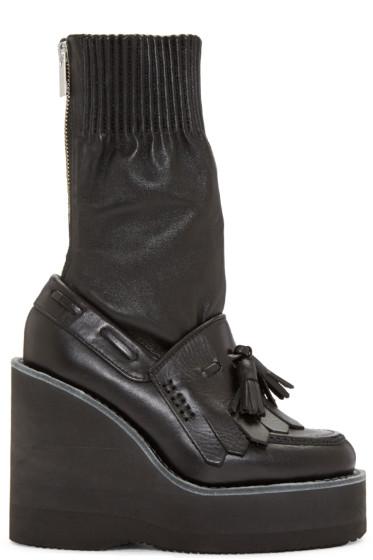 Sacai - Black Zip Wedge Boots
