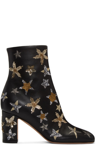 Valentino - Black Stars Ankle Boots