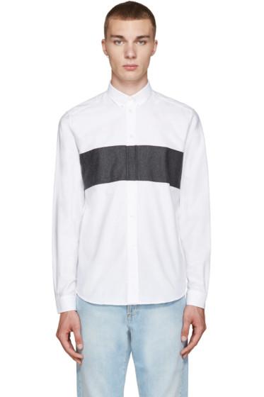 AMI Alexandre Mattiussi - White & Grey Panelled Shirt