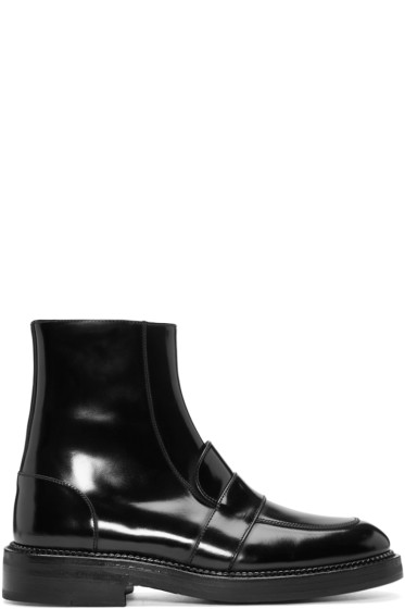 Yang Li - Black Penny Loafer Ankle Boots