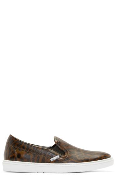 Jimmy Choo - Green Leopard Grove Slip-On Sneakers