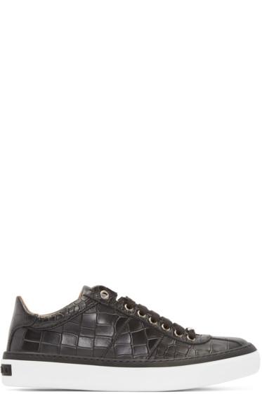 Jimmy Choo - Black Croc-Embossed Portman Sneakers