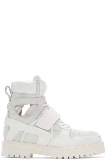 Hood by Air - White Leather & Suede Avalanche Boots