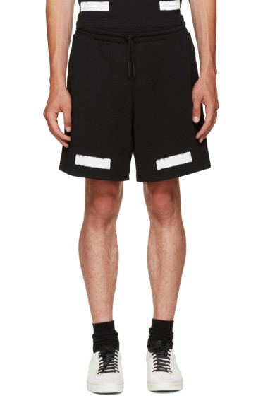 Off-White - Black Brushed Diagonals Shorts