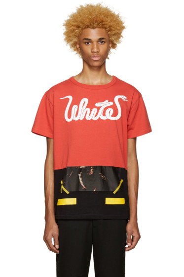Off-White - Red 'White' Patchwork T-Shirt