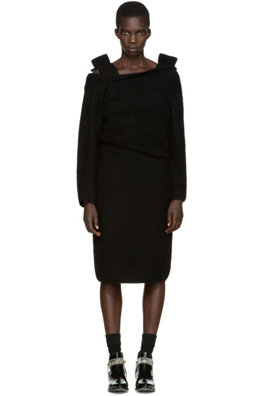 Toga - Black Wool Cape Dress