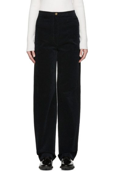 Lemaire - Navy High-Rise Corduroy Trousers