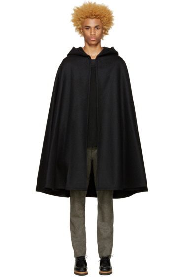 Lemaire - Black Wool Hooded Cape