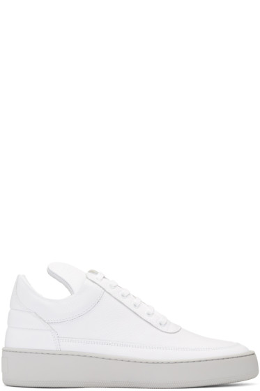 Filling Pieces - White Leather Cleo Sneakers