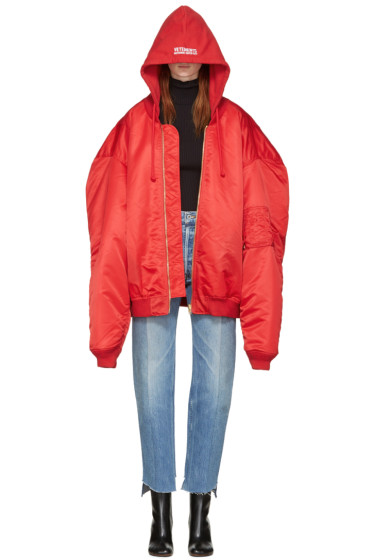 Vetements - Red Oversized Bomber Jacket