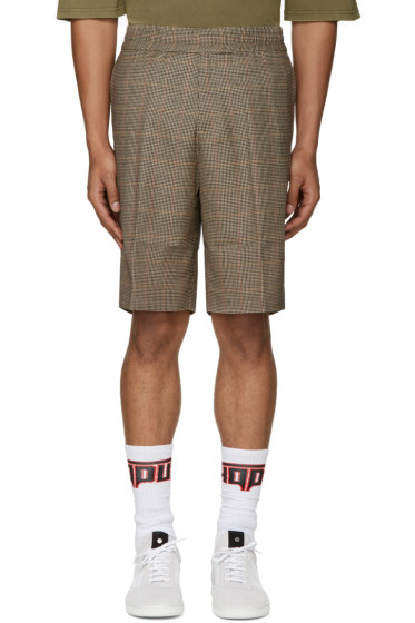 Palm Angels - Brown Houndstooth Shorts