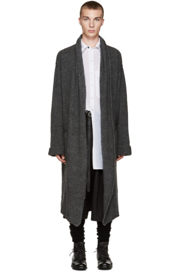 Isabel Benenato - Grey Knit Long Coat