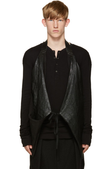 Isabel Benenato - Black Leather Halter Vest