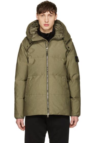Stone Island - Green Down Hooded Jacket