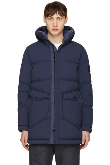 Stone Island - Blue Down Hooded Puffer Jacket