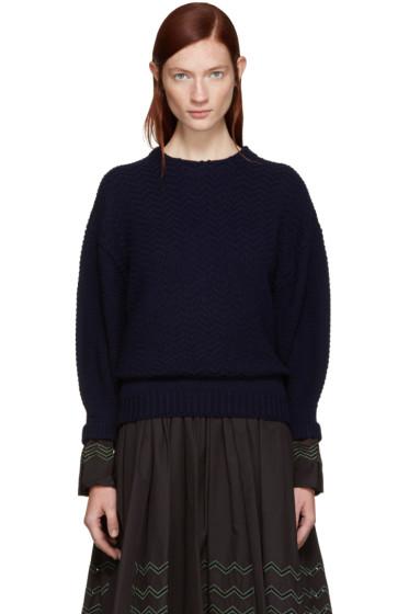 Harikae  - Navy Wool Cuffs Sweater