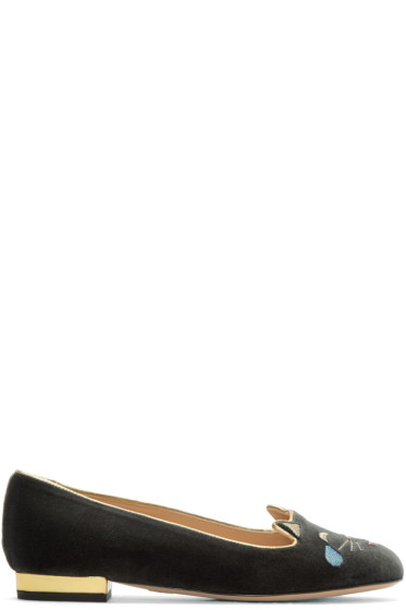 Charlotte Olympia - Grey Velvet Lol Kitty Flats