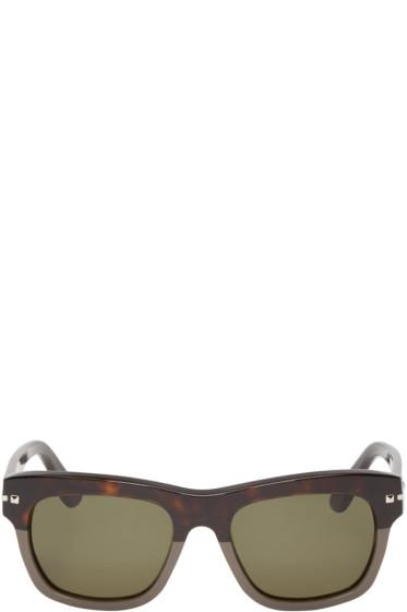Valentino - Brown & Grey Studded Sunglasses