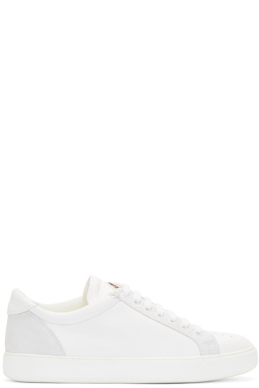 Moncler A - White Textured Leather Sneakers