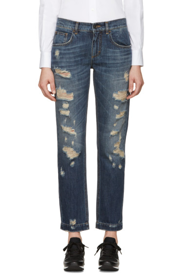 Dolce & Gabbana - Indigo Distressed Boyfriend Jeans
