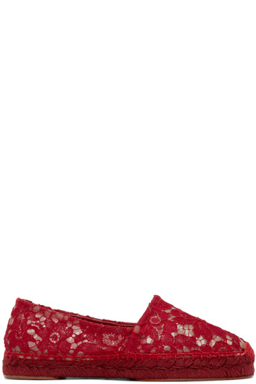 Dolce & Gabbana - Red Lace Espadrilles