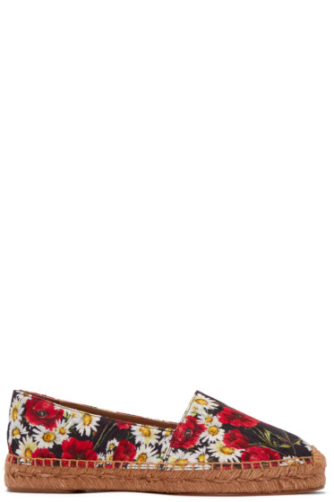 Dolce & Gabbana - Black Floral Brocade Espadrilles