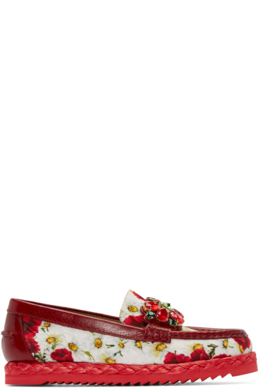 Dolce & Gabbana - Red & White Embellished Poppies Loafers