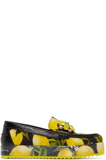 Dolce & Gabbana - Black & Yellow Embellished Lemons Loafers