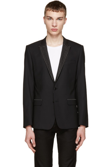 Dolce & Gabbana - Black Printed Lapels Blazer