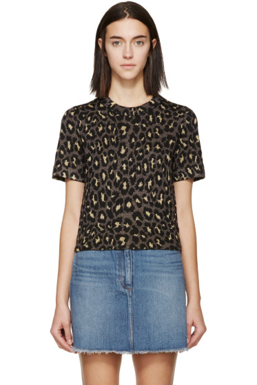 Marc by Marc Jacobs - Gold & Brown Knit Leopard T-Shirt
