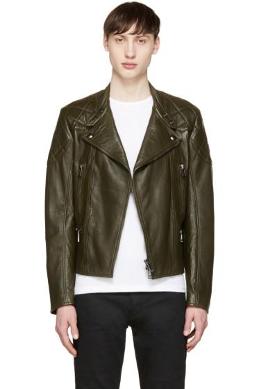 Belstaff - Green Leather Longwick Biker Jacket